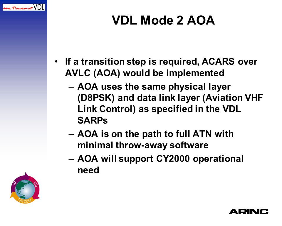 VDL Mode 2 AOA If a transition step is required, ACARS over AVLC (AOA) would be implemented.