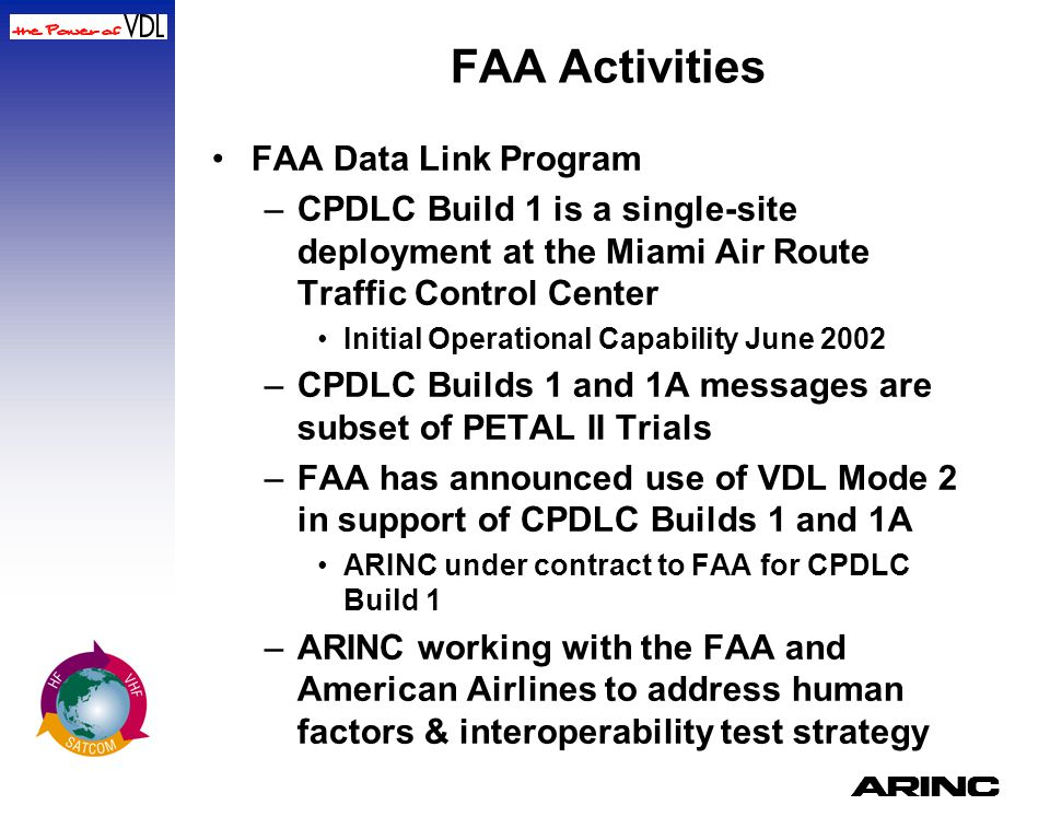 FAA Activities FAA Data Link Program