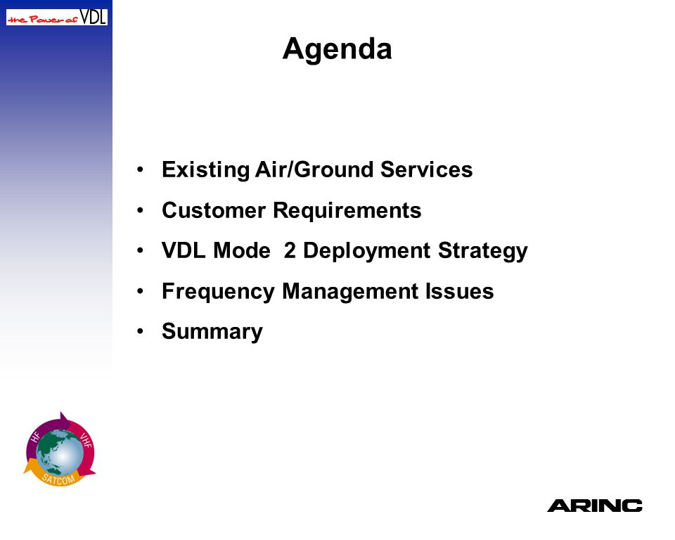 Agenda Existing Air/Ground Services Customer Requirements