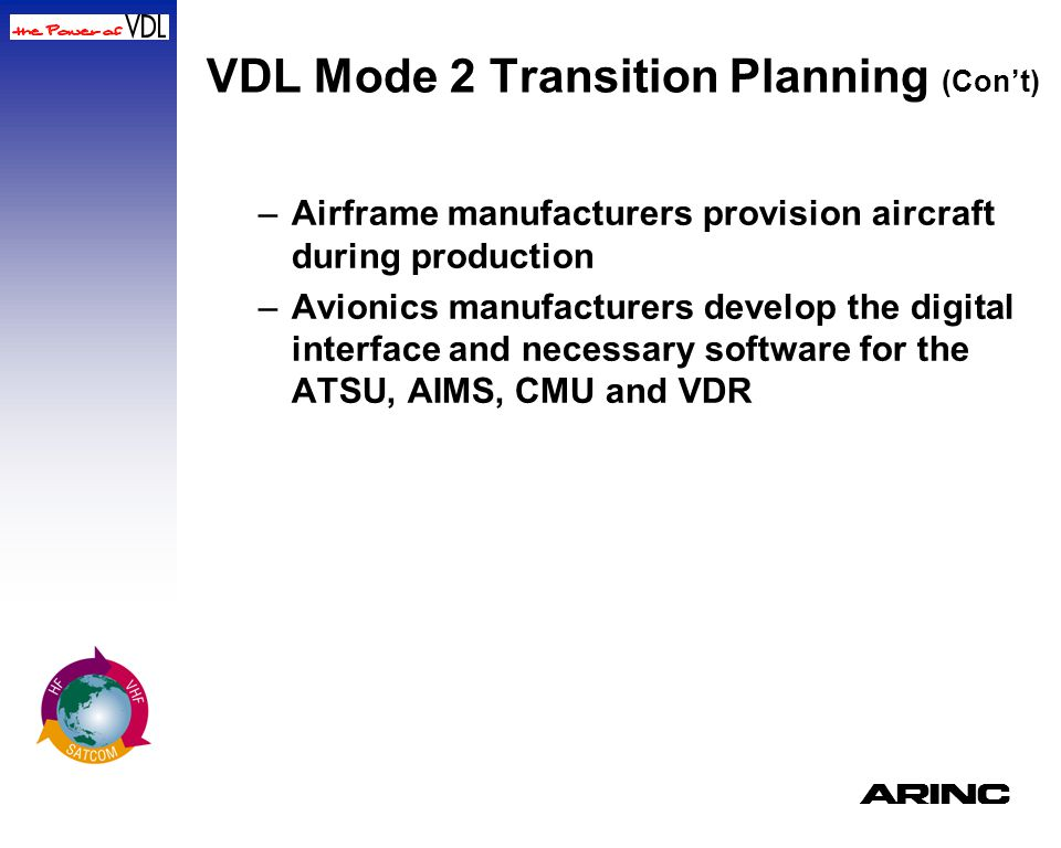 VDL Mode 2 Transition Planning (Con't)