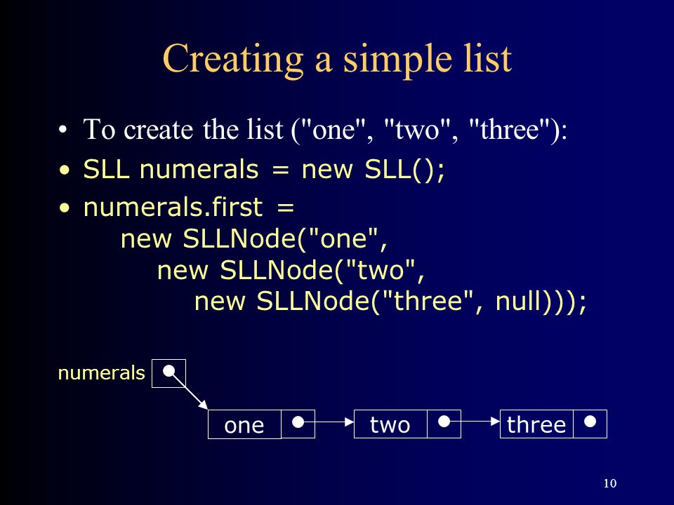 Creating a simple list To create the list ( one , two , three ):