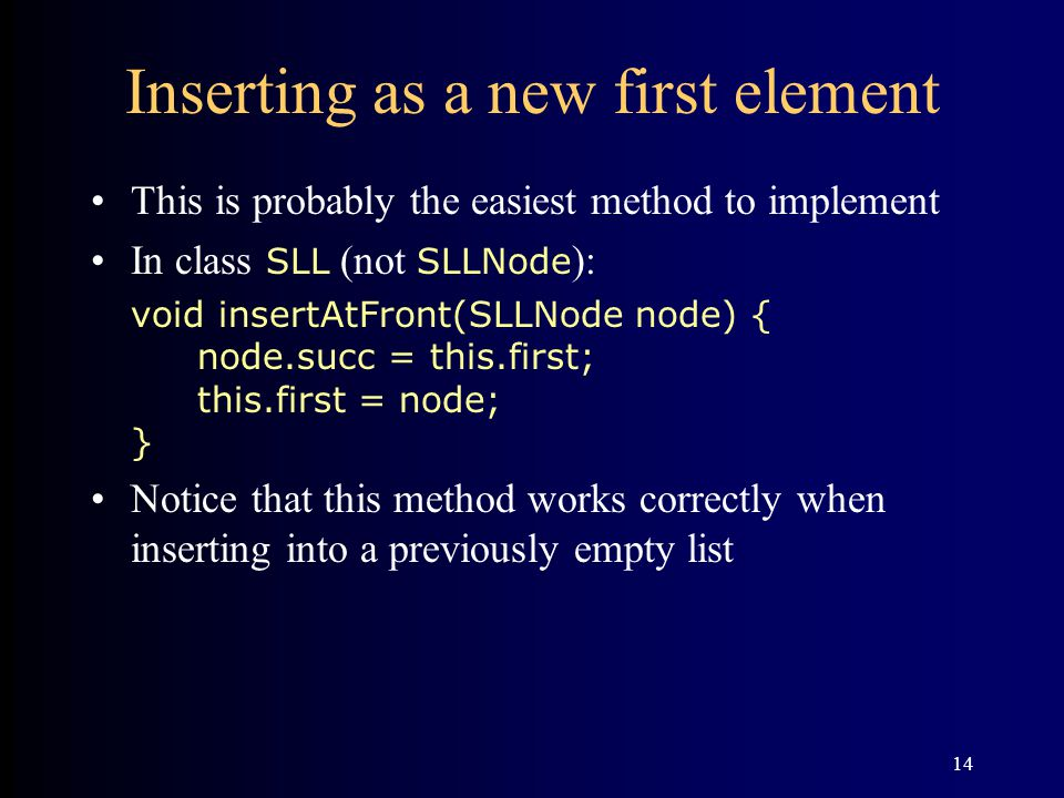 Inserting as a new first element