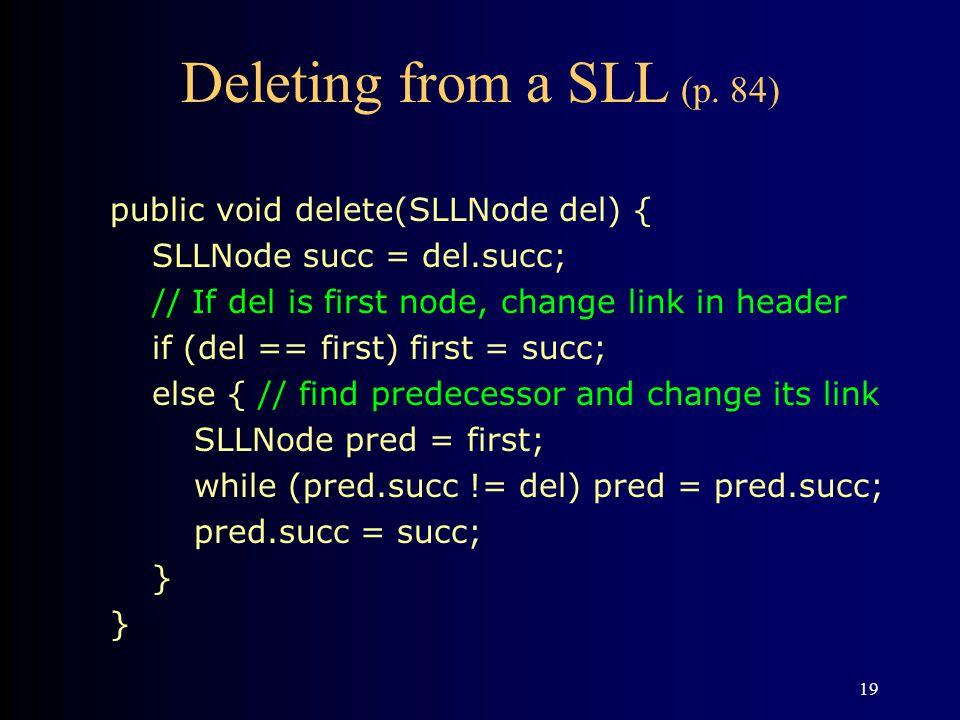 Deleting from a SLL (p. 84) public void delete(SLLNode del) {