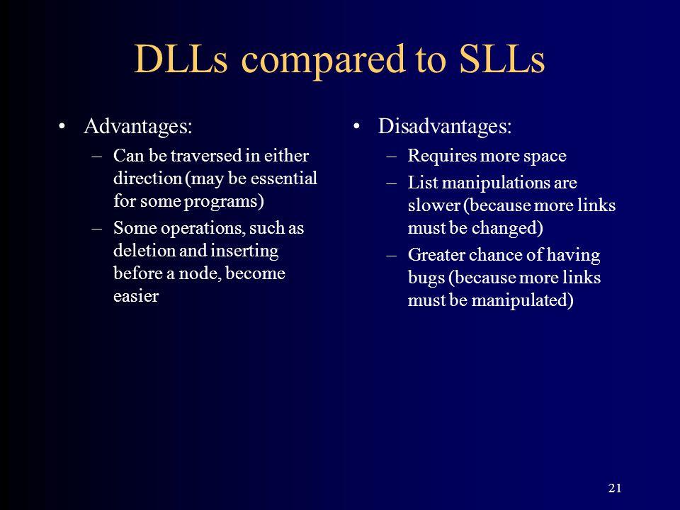DLLs compared to SLLs Advantages: Disadvantages: