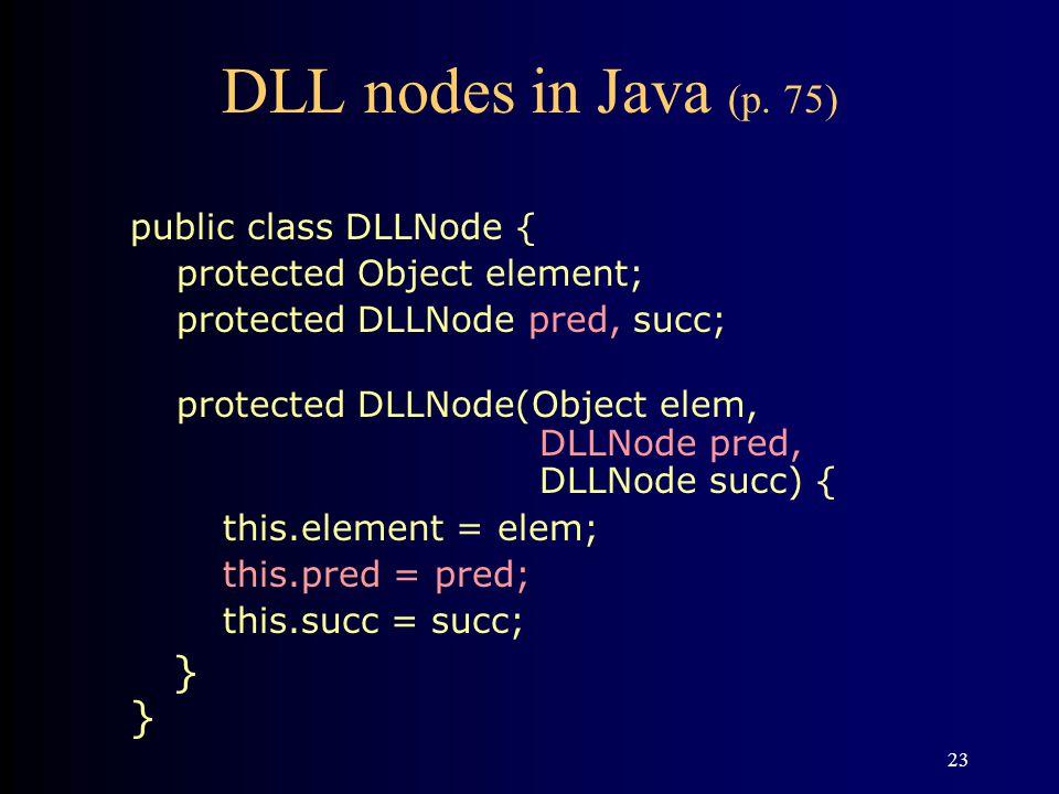 DLL nodes in Java (p. 75) } } public class DLLNode {