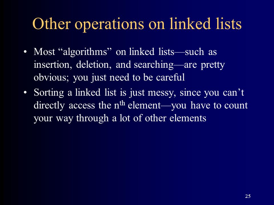 Other operations on linked lists