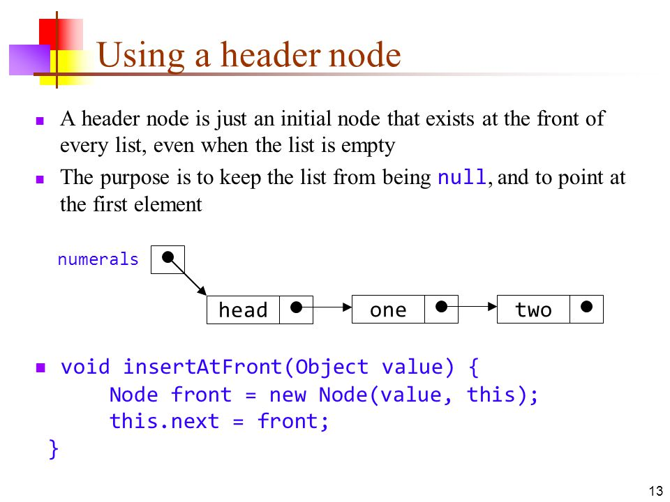 Using a header node A header node is just an initial node that exists at the front of every list, even when the list is empty.