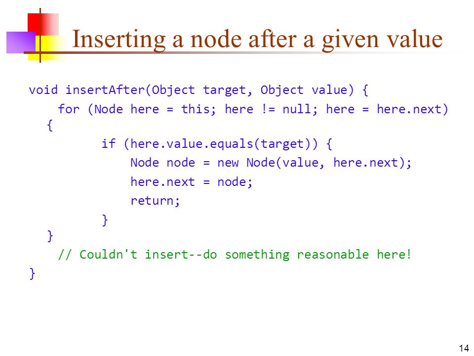 Inserting a node after a given value