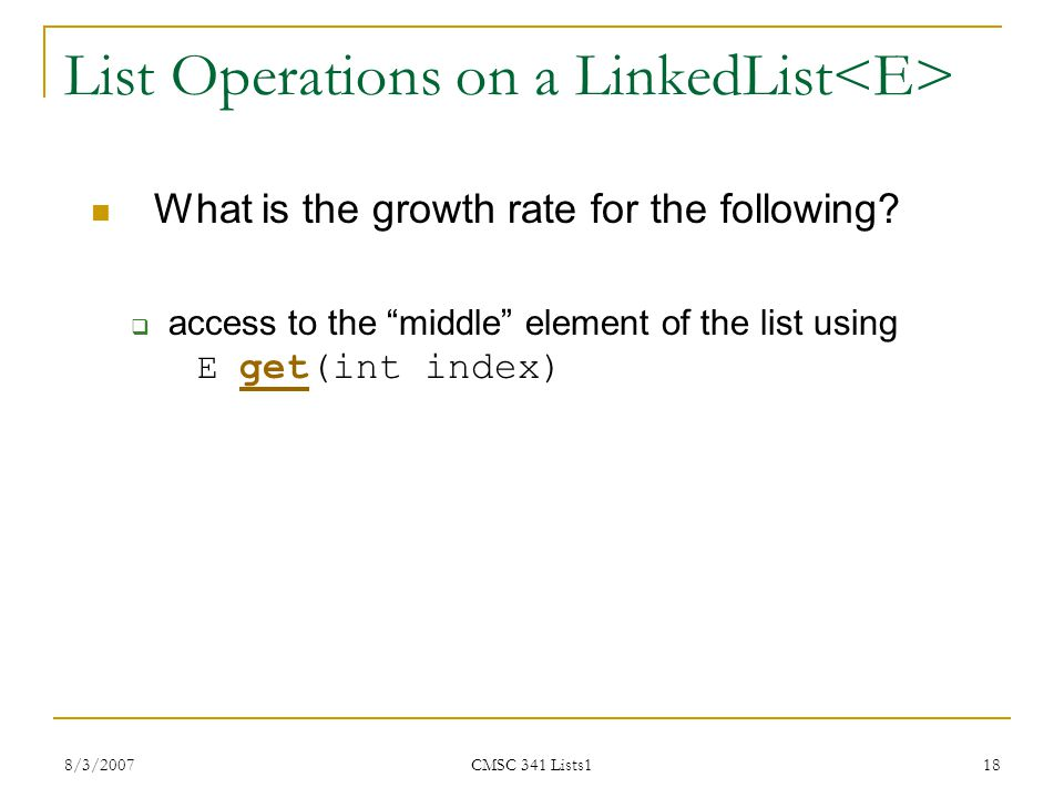List Operations on a LinkedList<E>