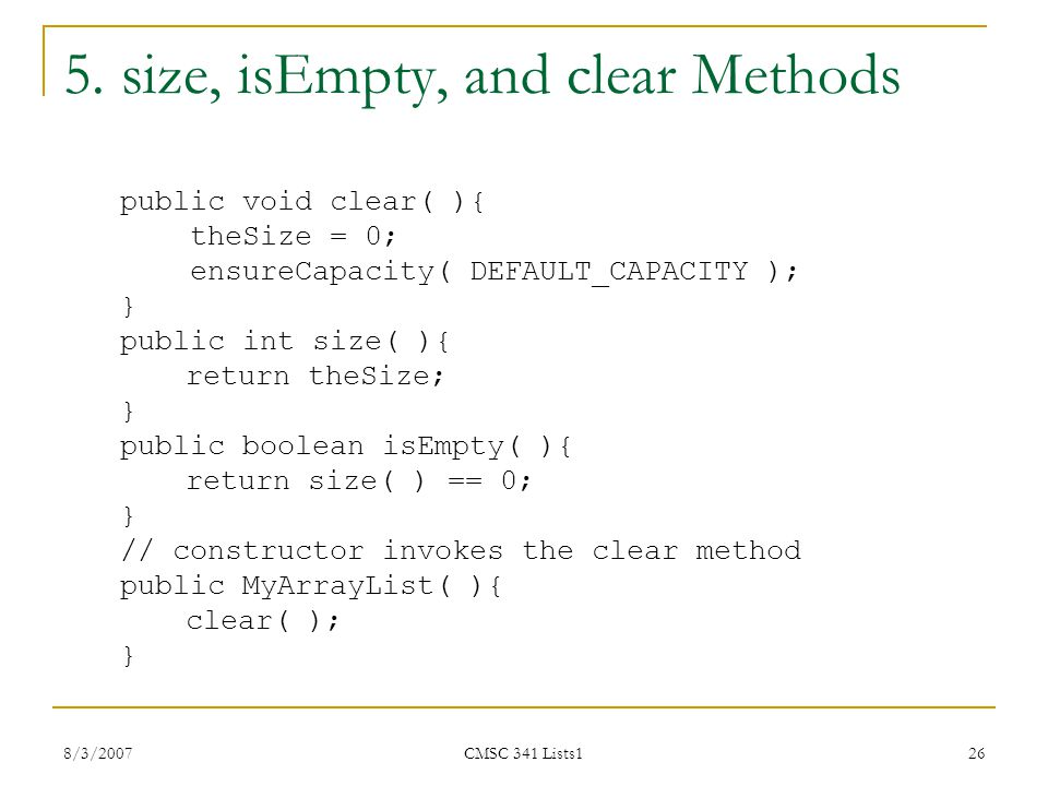 5. size, isEmpty, and clear Methods