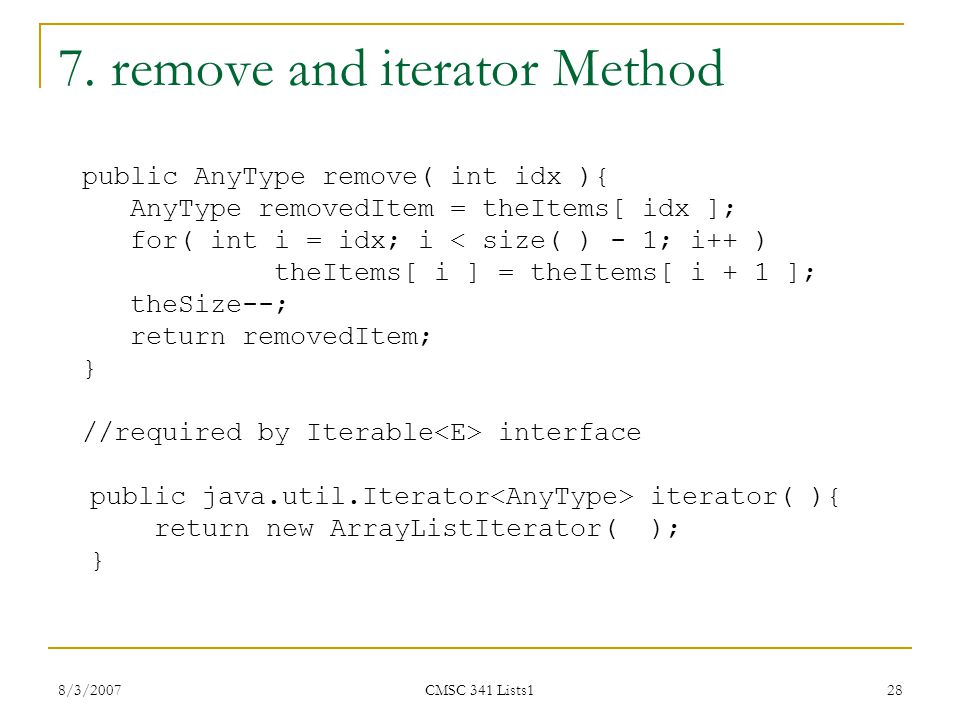7. remove and iterator Method