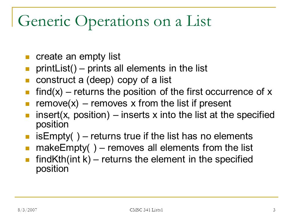 Generic Operations on a List