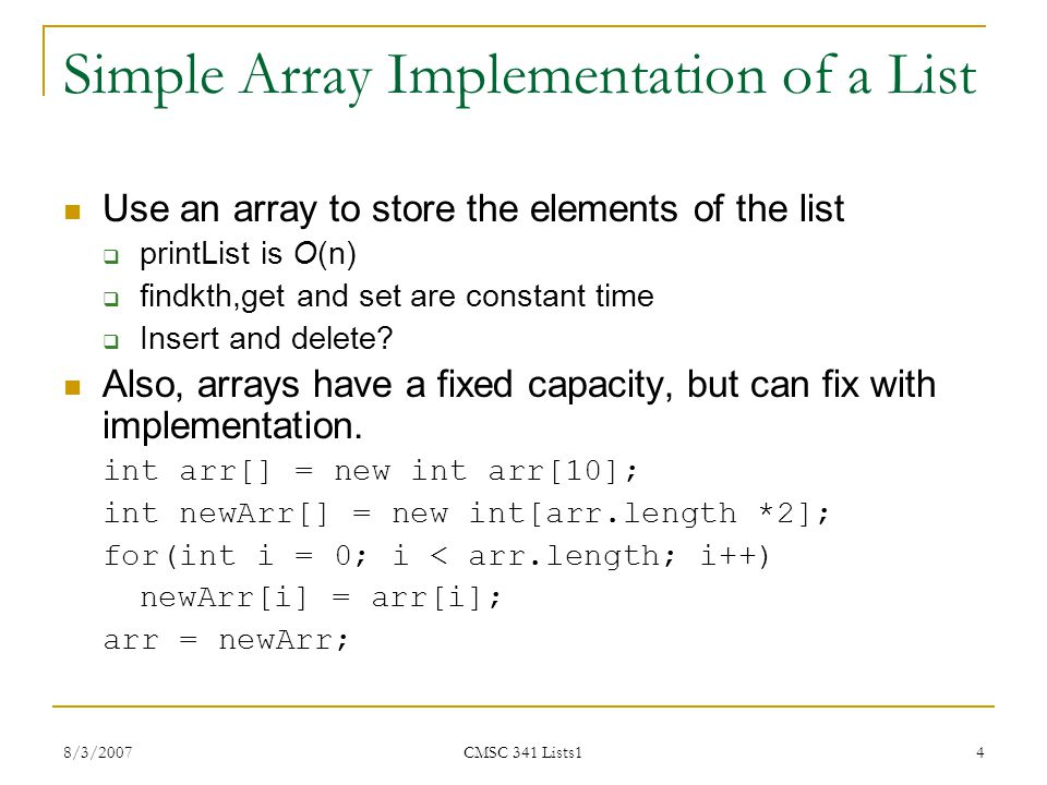 Simple Array Implementation of a List