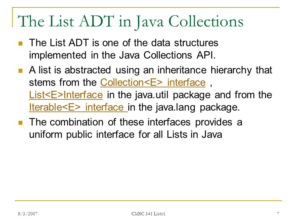 The List ADT in Java Collections