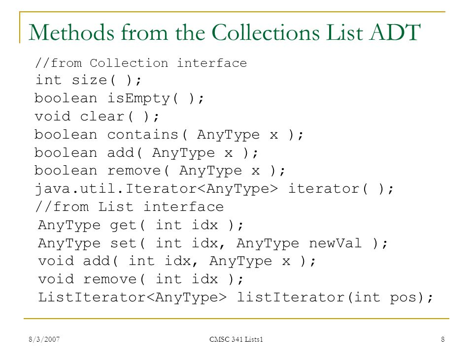 Methods from the Collections List ADT