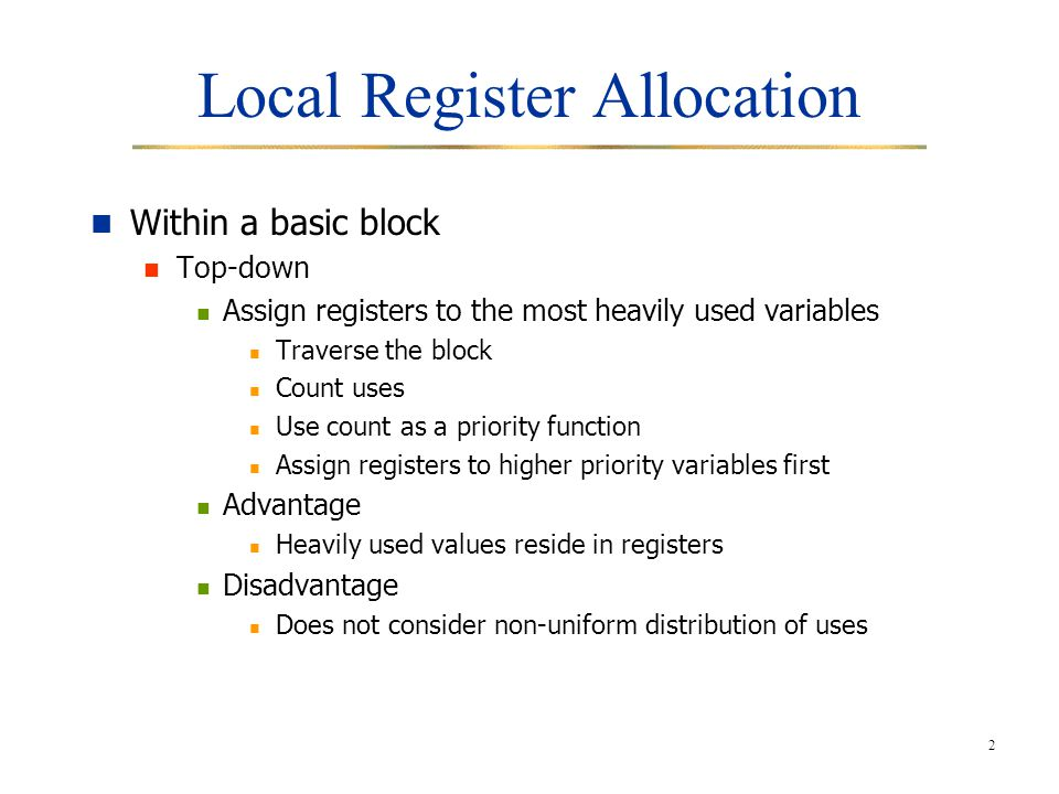Local Register Allocation