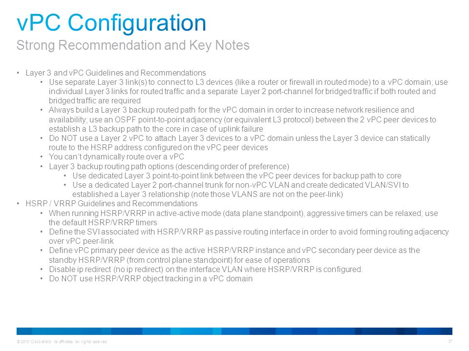vPC Configuration Strong Recommendation and Key Notes