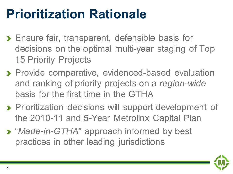 Prioritization Rationale