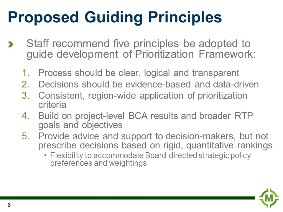 Proposed Guiding Principles