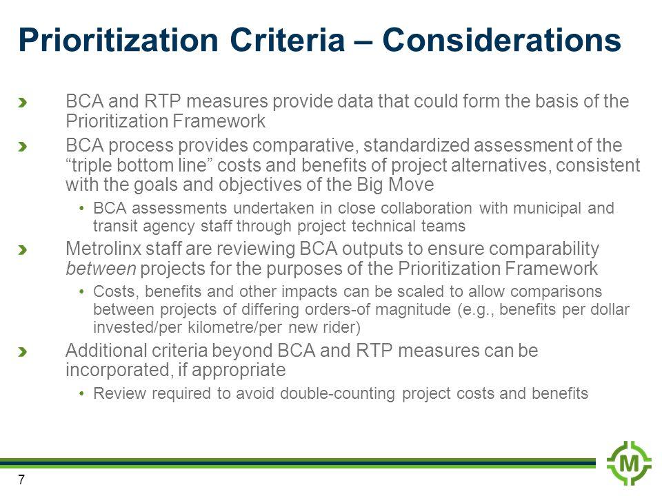 Prioritization Criteria – Considerations