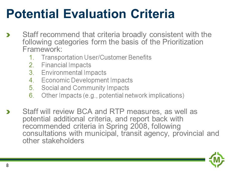 Potential Evaluation Criteria