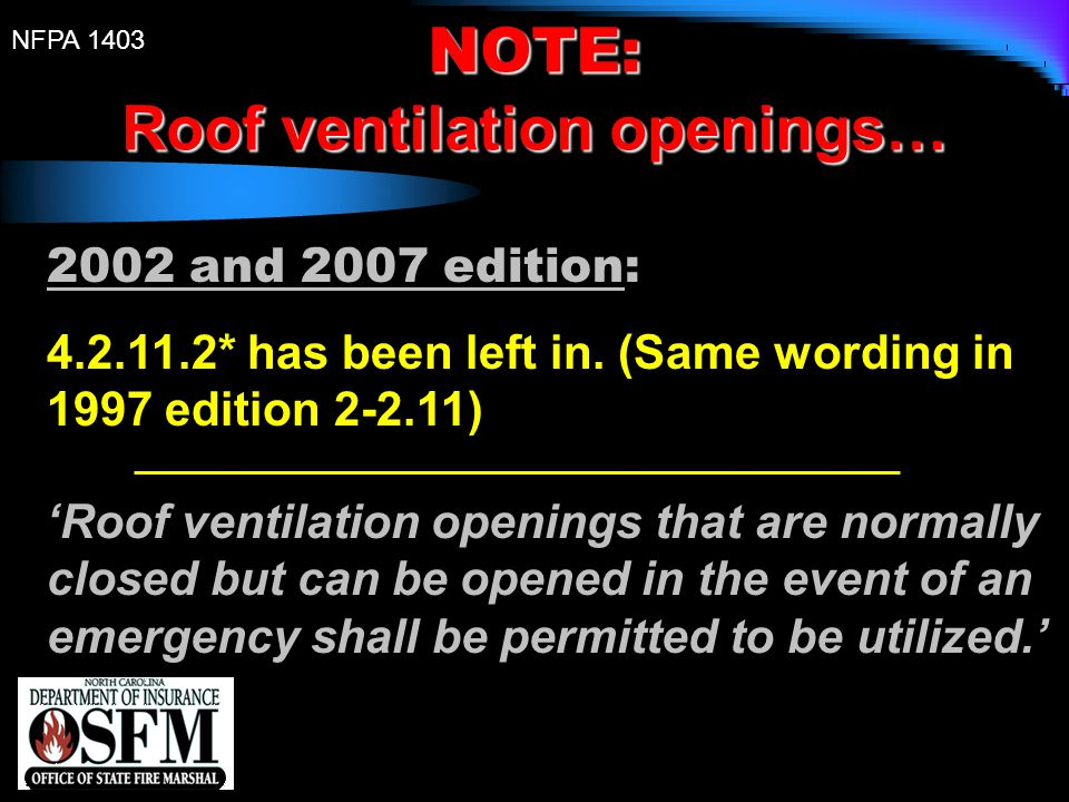Roof ventilation openings…