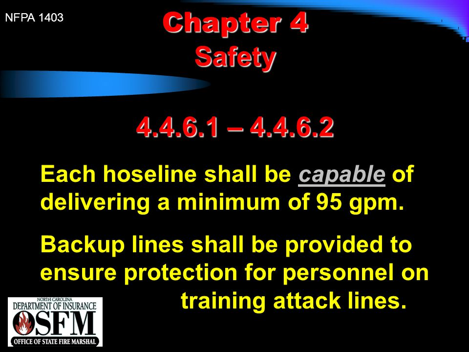 Chapter 4 Safety. 4.4.6.1 – 4.4.6.2. Each hoseline shall be capable of delivering a minimum of 95 gpm.