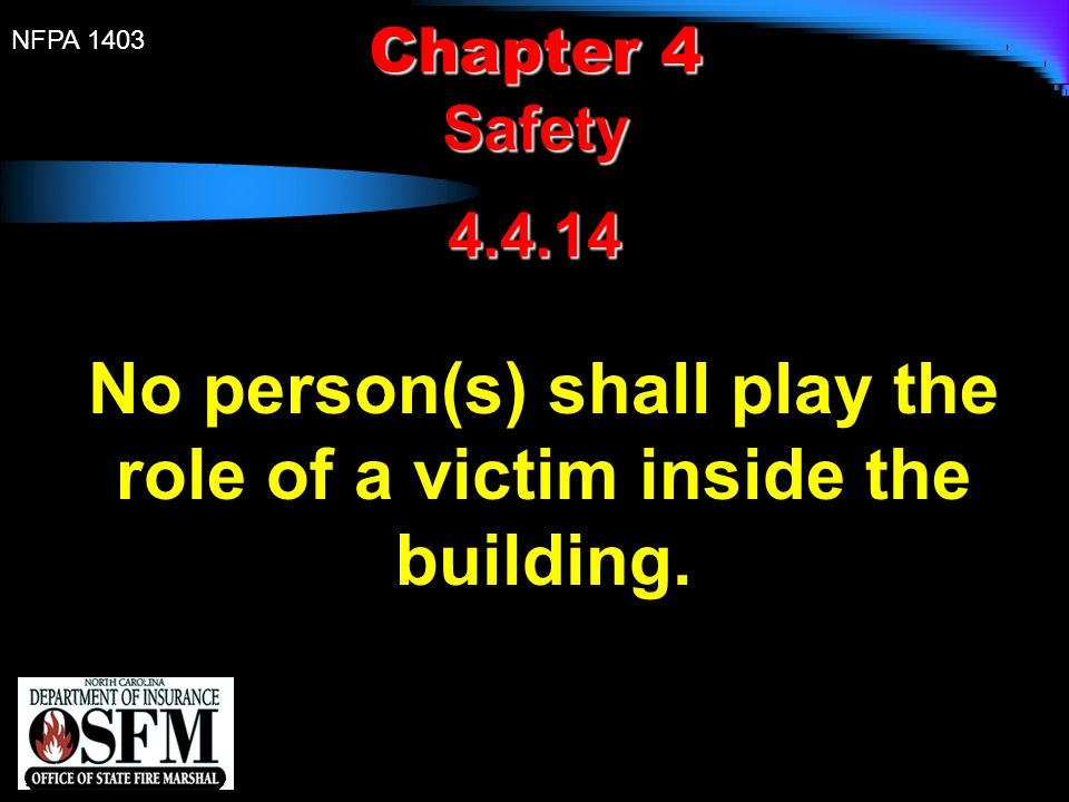 No person(s) shall play the role of a victim inside the building.