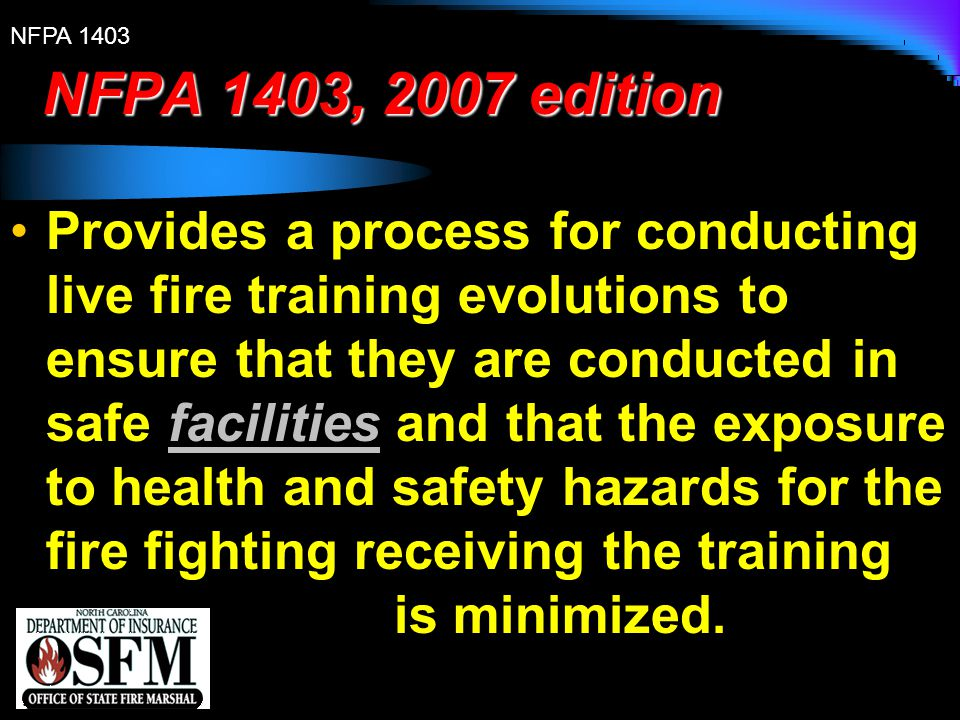 NFPA 1403, 2007 edition