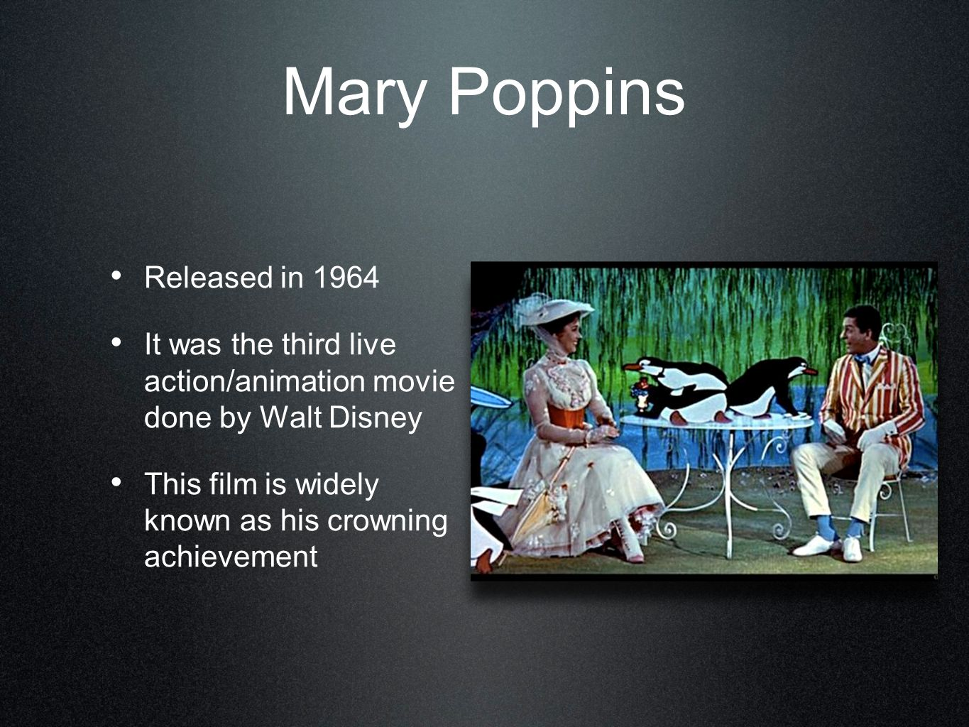 Mary Poppins Released in 1964