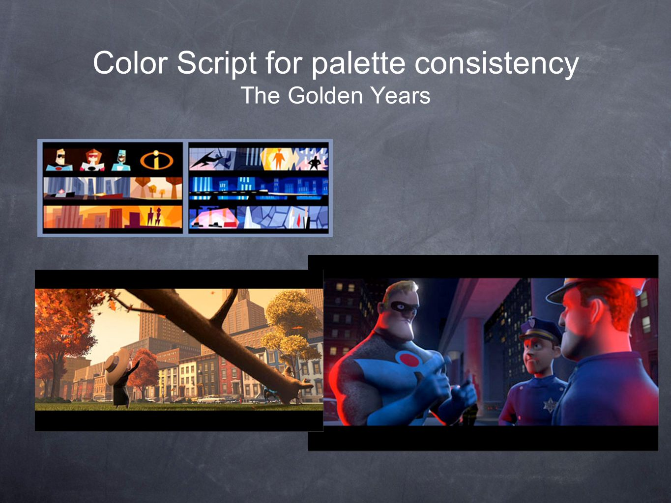 Color Script for palette consistency The Golden Years