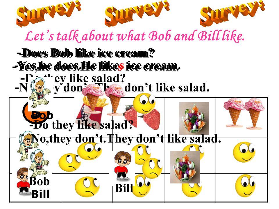 3 Survey: Survey: Survey: Let's talk about what Bob and Bill like.