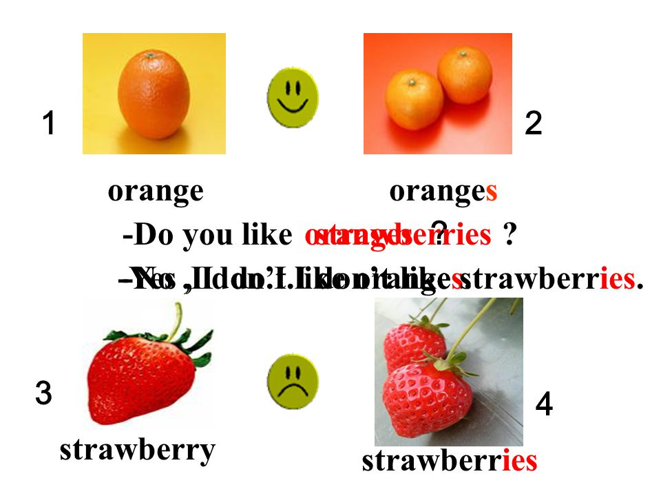 1 2. orange. oranges. -Do you like. oranges ? strawberries -Yes , I do.I like oranges. -No ,I don't.I don't like strawberries.