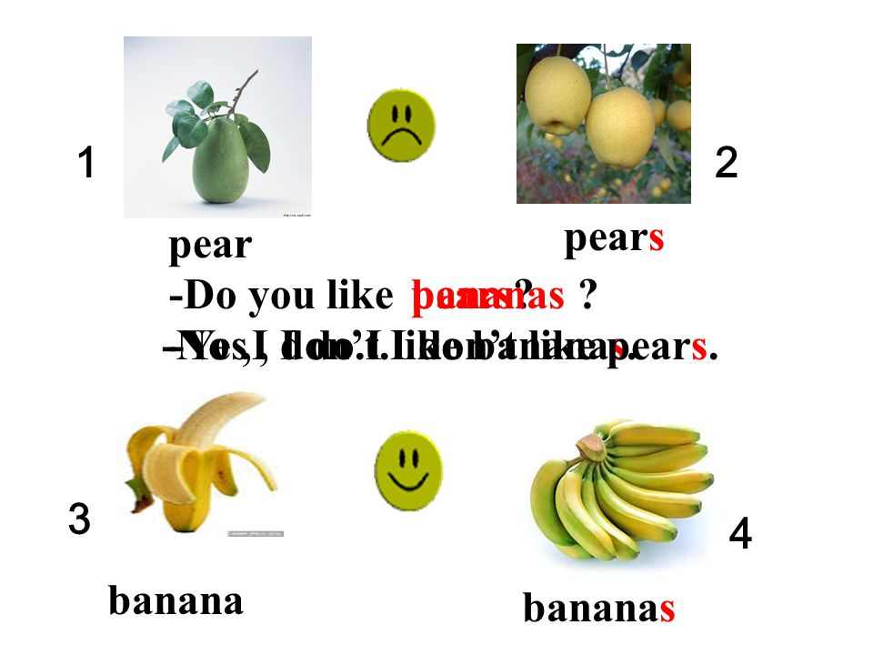 1 2. pears. pear. -Do you like. pears bananas -Yes , I do.I like bananas. -No ,I don't.I don't like pears.