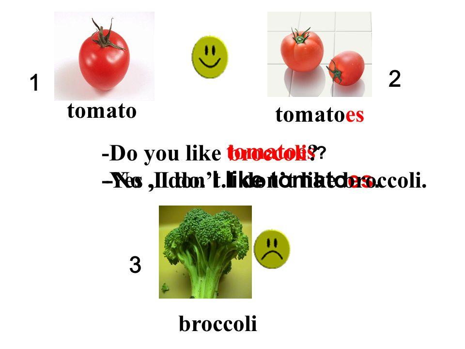 2 1. tomato. tomatoes. -Do you like. broccoli tomatoes -Yes , I do. I like tomatoes. -No ,I don't.I don't like broccoli.