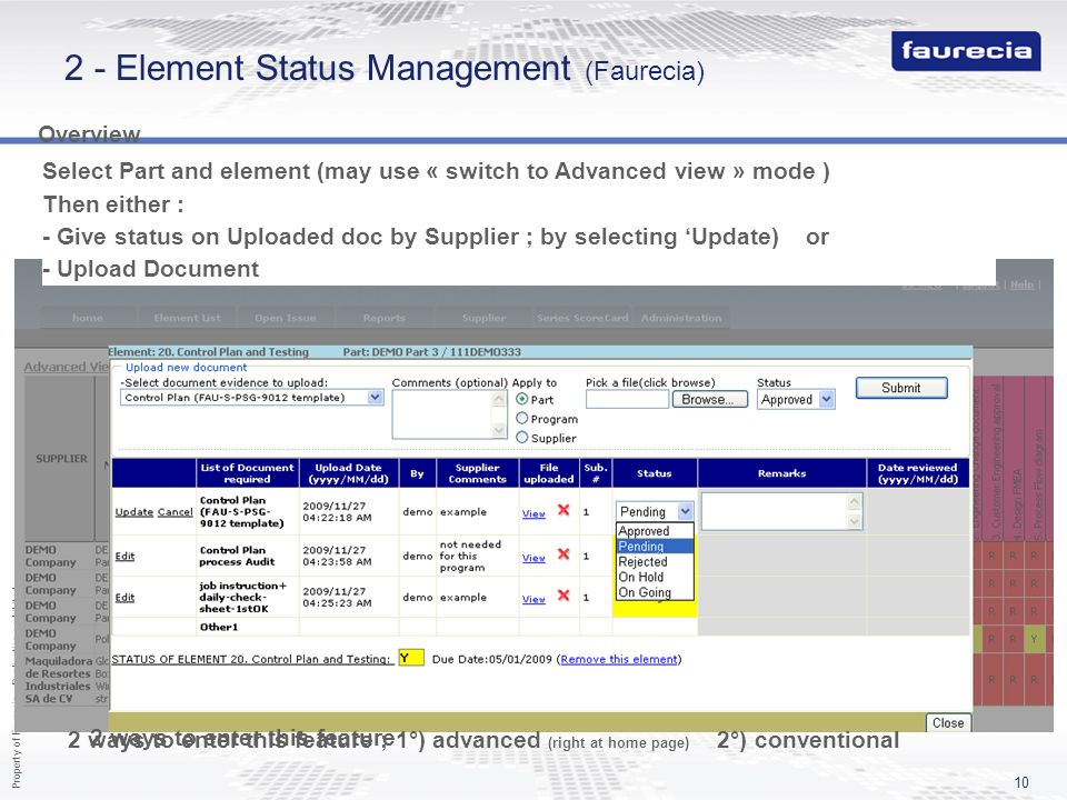 2 - Element Status Management (Faurecia)