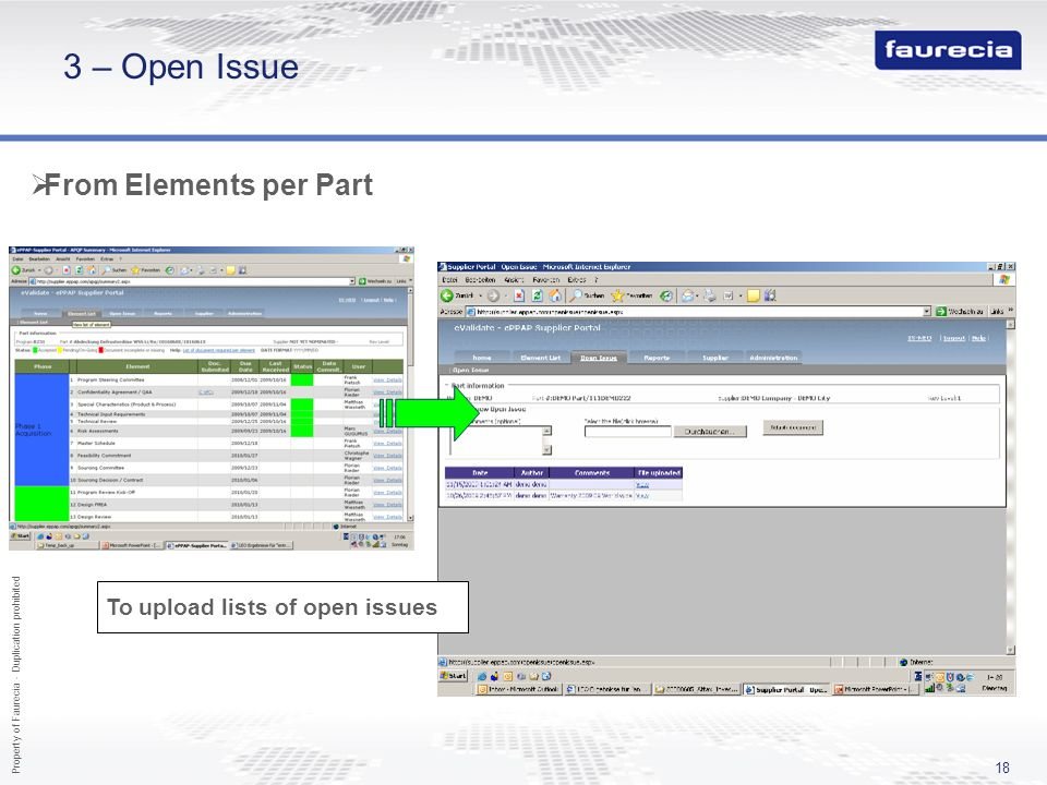 3 – Open Issue From Elements per Part To upload lists of open issues