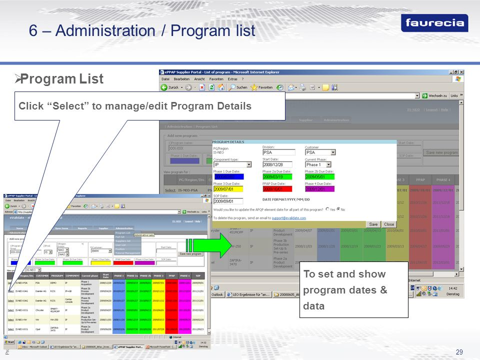 6 – Administration / Program list