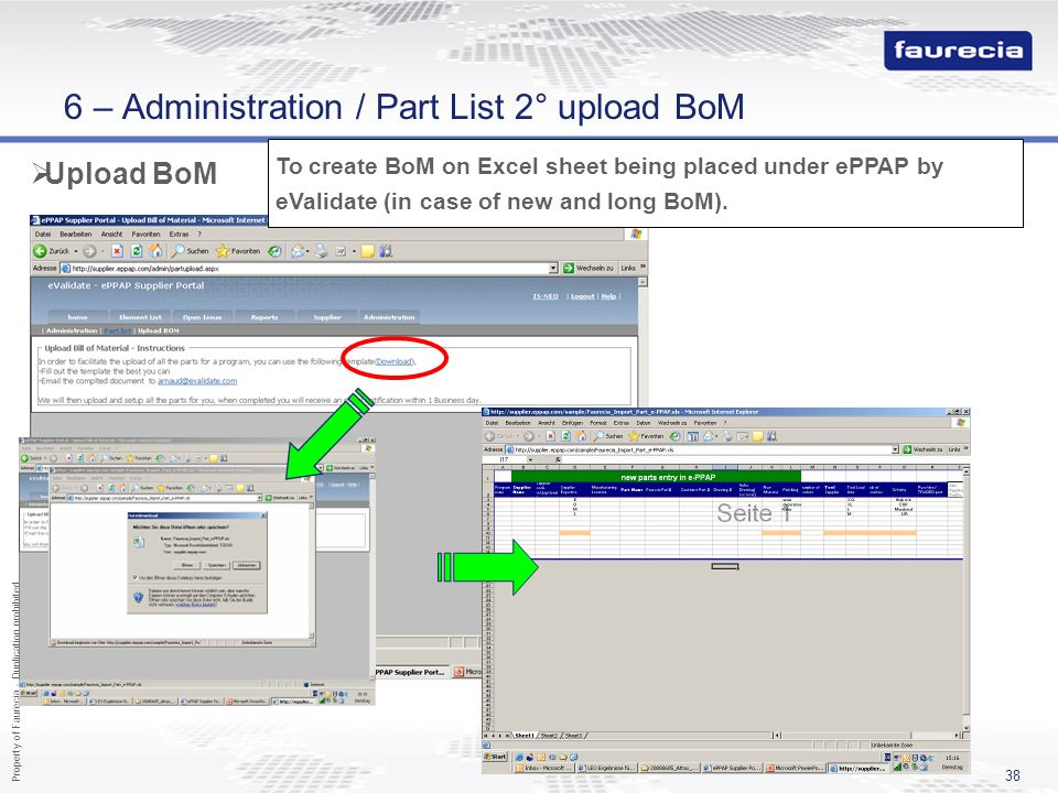 6 – Administration / Part List 2° upload BoM