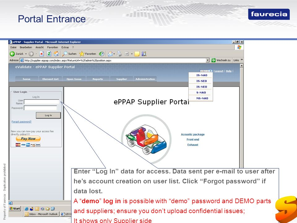 S Portal Entrance http://supplier.eppap.com User account is the email