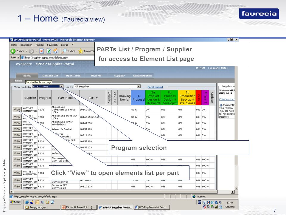 1 – Home (Faurecia view) PARTs List / Program / Supplier for access to Element List page. Program selection.
