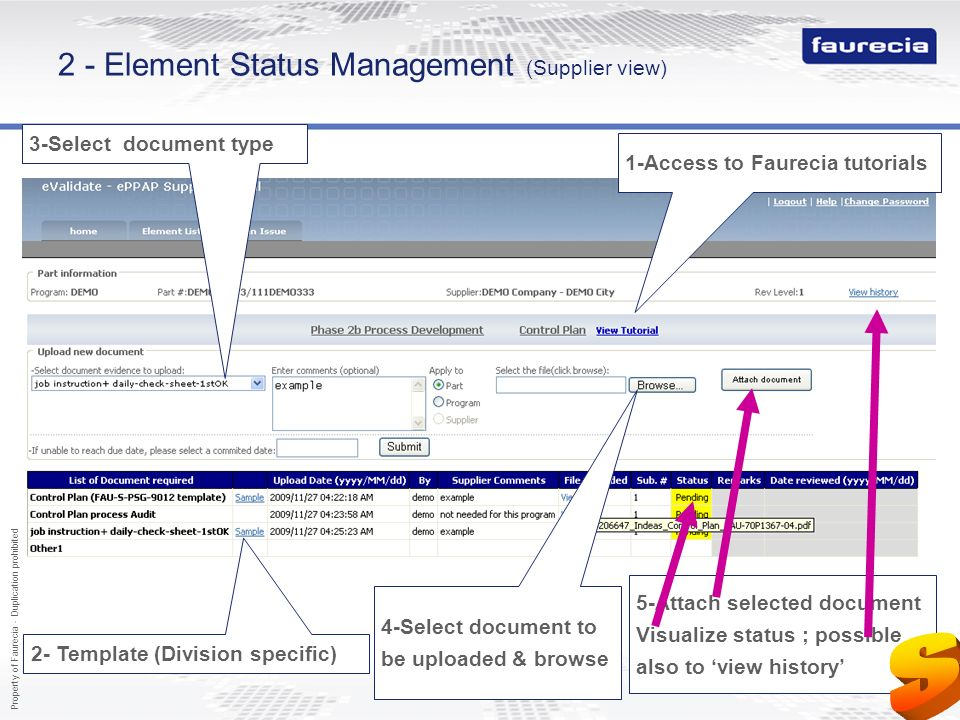 2 - Element Status Management (Supplier view)