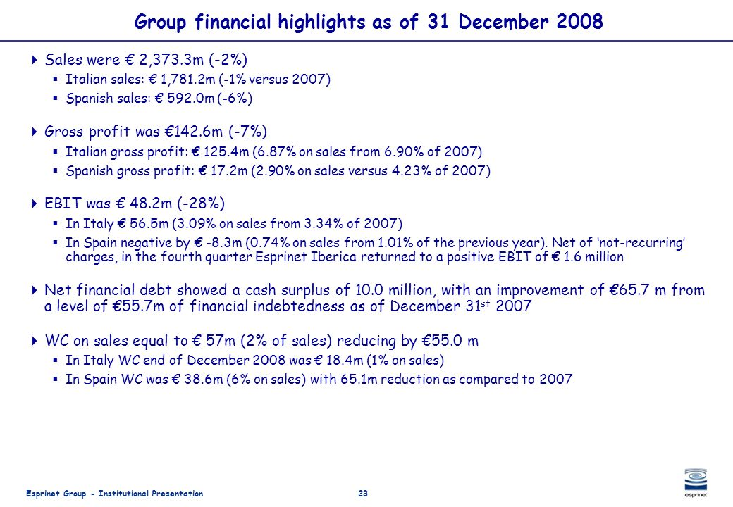 Group financial highlights as of 31 December 2008