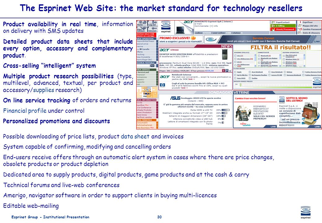 The Esprinet Web Site: the market standard for technology resellers