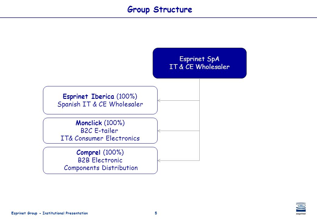 Group Structure Esprinet SpA IT & CE Wholesaler