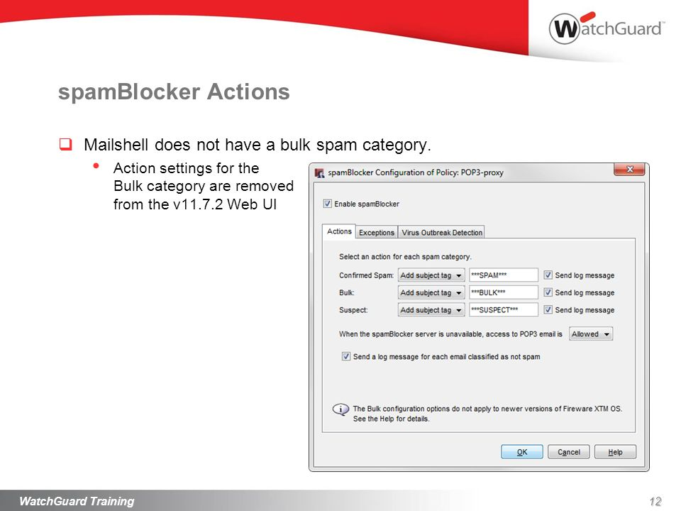spamBlocker Actions Mailshell does not have a bulk spam category.