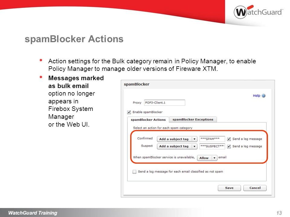 spamBlocker Actions