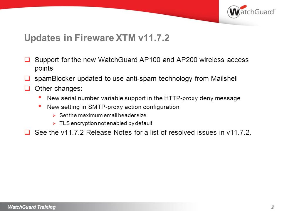 Updates in Fireware XTM v11.7.2
