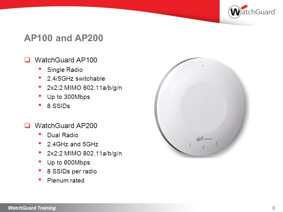 AP100 and AP200 WatchGuard AP100 WatchGuard AP200 Single Radio