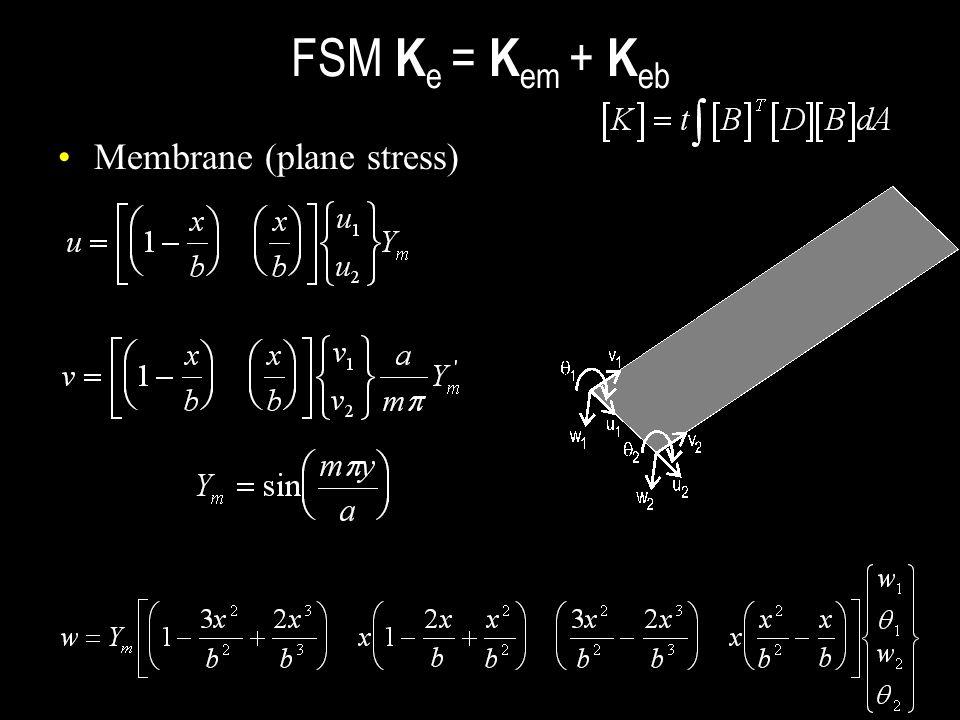 FSM Ke = Kem + Keb Membrane (plane stress)